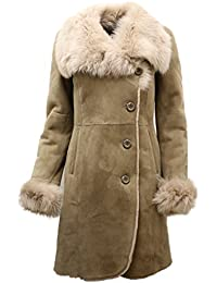 Ladies Warm Beige Suede Merino Sheepskin Coat with Toscana Collar