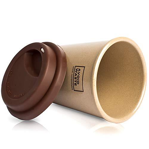 avoid waste - Nachhaltiger Kaffee-Becher to go aus Reishülsen. Der Mehrweg-Becher ist pflanzlich, biologisch abbaubar, BPA frei, spülmaschinenfest und umweltfreundlich (braun) - 3