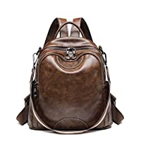 RFSAZ Backpack Anti Theft Retro Oil Wax Leather Women Small Backpack Purse Casual Shoulder Bag for Ladies