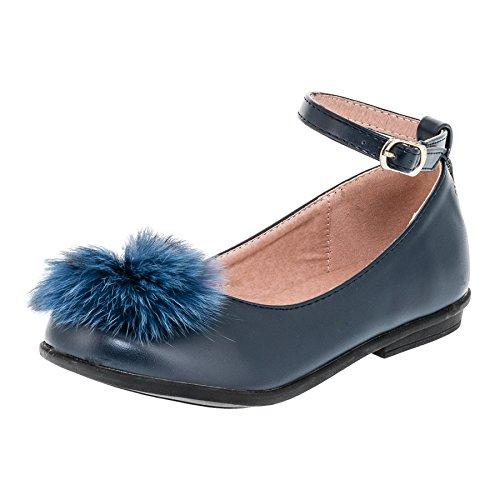 Doremi Festliche Mädchen Ballerina Schuhe mit Kunstfell und Perle M371bl Blau 26