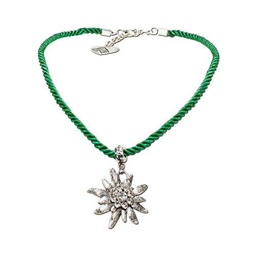 Trachtenschmuck * Trachtenkette Kordel mit Strass-Edelweiß * Damen Dirndlkette - Kordelkette * Dirndl-Schmuck Oktoberfest (grün)