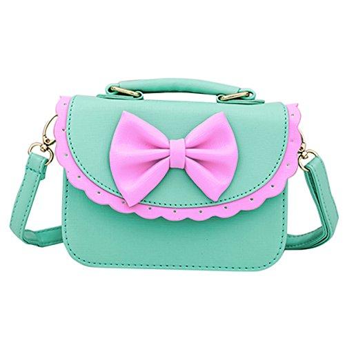 Happy Cherry Handtasche, Schultertasche, für Kinder, Mädchen, aus PU-Leder, mit Schleife, für 3-12Jahre geeignet