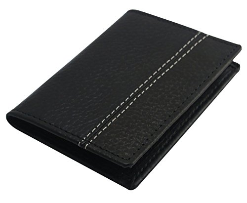 Mens Echtes Leder Schwarz Kreditkarten-Halter, ID-Halter, Slim Wallet, Card Case,Business Kreditkarteninhaber, Kreditkarte Fall (Business Leder Case Card)