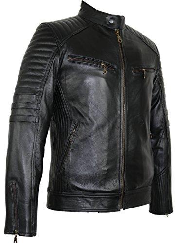 Motorrad Lederjacke aus robustem Rindleder (L)