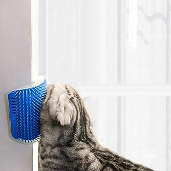 Chats Brosse Peigne de Toilettage et Massage Mural en Coin,Brosse d?Angle de Toilettage pour Animal Self Tondeuse Peigne Jouet (Bleu)