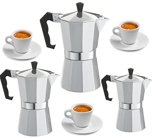 niboline Espressokocher Espressobereiter für 3,6, 9 Tassen Espresso Espressomaschine (Für 6...