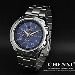 Beautiful Watches , CHENXI® Men's Sports Design Dress Watch Japanese Quartz Water Resistant Silver Steel Strap