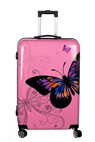 Birendy Reisekoffer Polycarbonat Hartschalen Hardcase Trolley mit Zahlenschloss Koffer Kofferset 4 Rollen einfacher Transport (A1-Pink Schmetterling, Koffer XL...