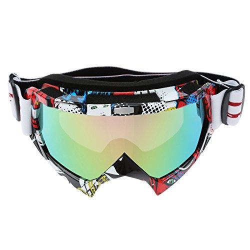 Vintage Bunt UV Schutz Motocross Brillen Schutzbrillen für Motorrad Bike - Mehrfarbiges Glas