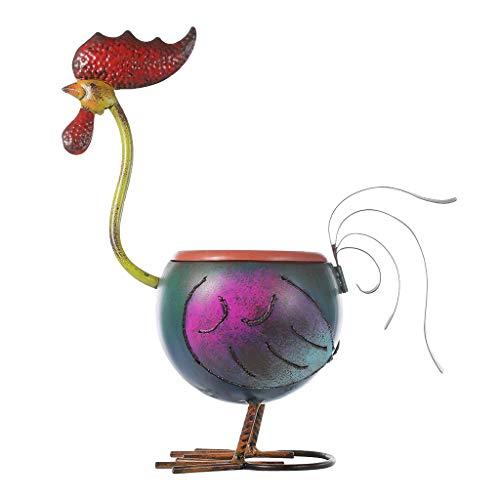 B Blesiya Blumentopf Pflanzgefäß Übertopf mit Hahn Figur, süße Dekofigur Gartendeko, wunderschöne Farben