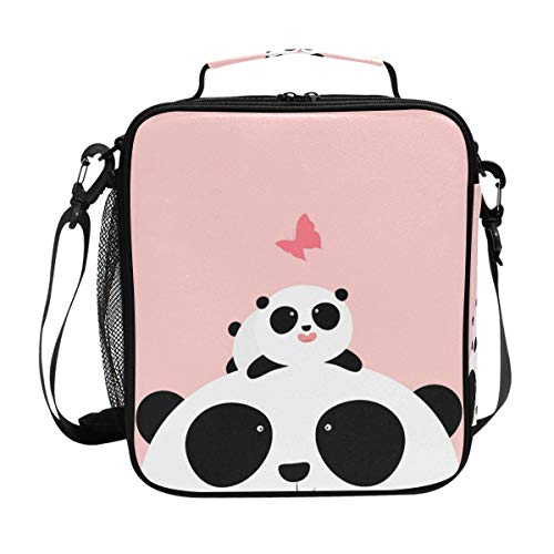 Orediy Isolierte Kühltasche Bento Lunchbag Cute Little Panda Family Kids Students Tote Lunch-Kit Box für Reisen Picknick Schule