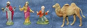 Re Magi presepe 3 pezzi e 1 cammello cm. 10, decorati a mano in ITALIA