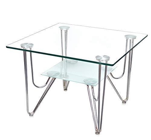 ts-ideen 4801 - tavolino in vetro di sicurezza monolastra di 10 mm e acciaio inox