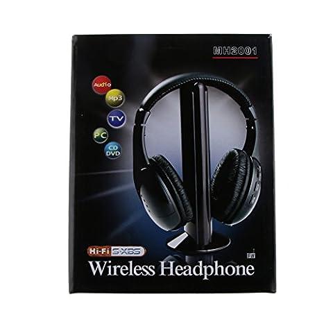 Noir 5 En 1 Casque Audio Stéréo Sans Fil écouteurs Avec Micro Pour Radio Pc Tv