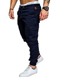 65e6d94478 SOMTHRON Hombre Cinturón de cintura elástico Pantalones de chándal de  algodón largo Jogging Pantalones de carga