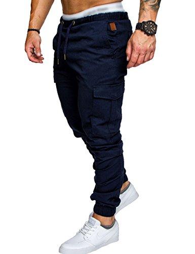 SOMTHRON Uomo Cintura elastica in cotone lungo da jogging Pantaloni sportivi taglie forti Pantalone sportivo da lavoro con pantaloncini Pantaloni da jogging Pantaloni Activewear (ZQ-L)