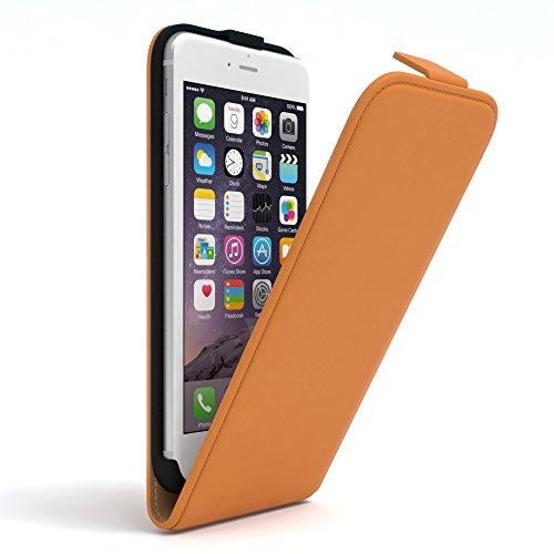 Apple iPhone 6 / 6S, EAZY CASE Premium Flip Case Handyhülle Schutzhülle als Klapphülle, Wallet Cover, Etui, Smartphone Tasche in Hellgrau Orange