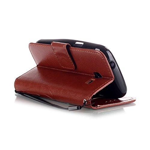 Prägen Blumen-Case, Magnetverschluss Synthetische PU-Leder-Kasten-Abdeckung mit hängenden Seil und Wallet-Funktion für Samsung S7392 ( Color : Blue , Size : Samsung S7392 ) Brown