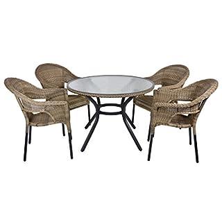 Azuma Havana Rattan Wicker Dining 4-Seat Garden Patio Furniture Table & Chairs Set