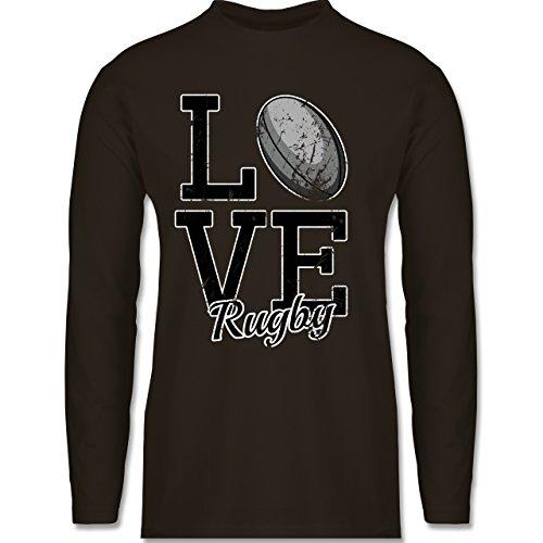 Sonstige Sportarten - Love Rugby - Longsleeve / langärmeliges T-Shirt für Herren Braun
