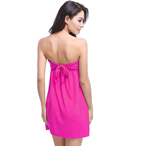 Pinkyee Damen Vintage Mini Rüschen Top bandagierte wieder Casual Strand Kleid Rose