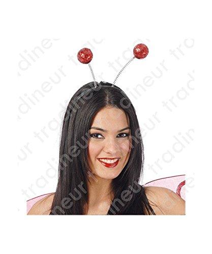 Kopfbedeckung Kostüm Schmetterling - Guirca Fiestas GUI16626 - rotes Ball-Diadem (Frost)