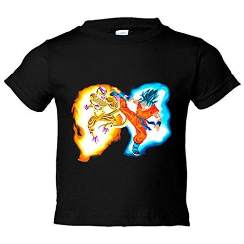 Camiseta niño Dragon Ball Super Freezer Gold Dorado Vs Goku Super Sayan God Dios - Negro, 9-11 años