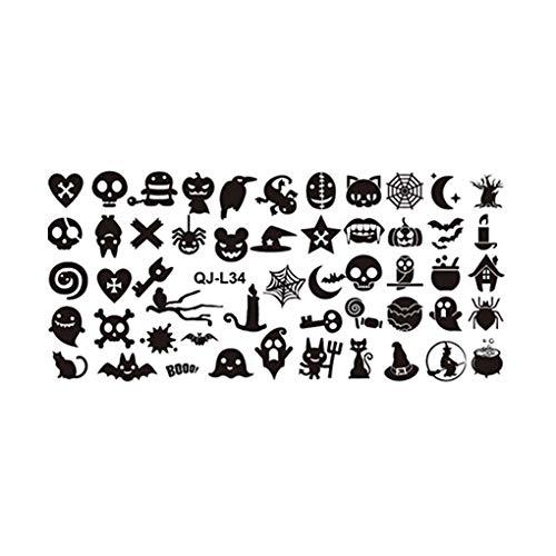 Arichtop Rectangle Nagel-Kunst-Schablone Mold Halloween Thema Weihnachten Nail Art Stamper-Platte