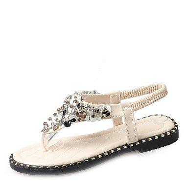 zhENfu Women's Sandals Leatherette Summer Outdoor Dress Casual Walking Sequin Low Heel Black White Under 1in White
