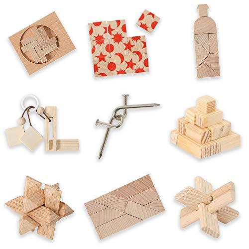 Bartl 500269 Knobelspiele aus Holz Puzzle Set F (9 Puzzles) Geschicklichkeitsspiele für Erwachsene und Kinder
