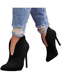 Minetom Donna Stivali Autunno Moda Casual Scarpe Scamosciato Tacco A Spillo  Tacchi Alti Ankle Boots Stivaletti. d394927362c