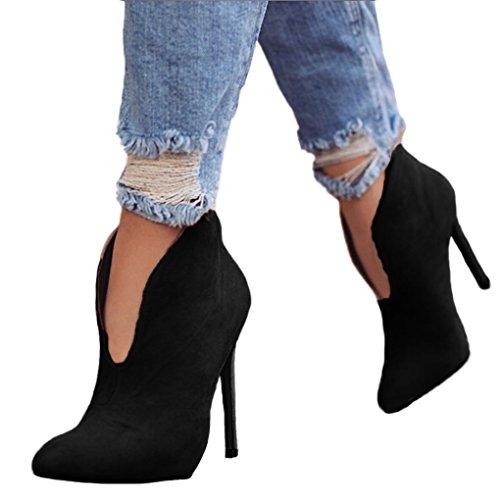 Minetom donna stivali autunno moda casual scarpe scamosciato tacco a spillo tacchi alti ankle boots stivaletti elegante high heels 12 cm nero eu 37