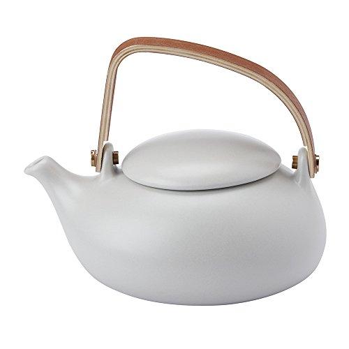 ZENS Théière Porcelaine avec Infuseur,Théière Asiatique en Porcelaine,Service de Thé Asiatique,Théière Japonaise,800ml,Gris
