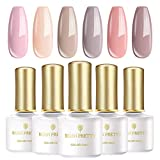 BORN PRETTY UV-Gel-Nagellack-Set, 6 Flaschen 6ml, Nude-Serie Solid Color, tränken weg Nail Art Gel Politur