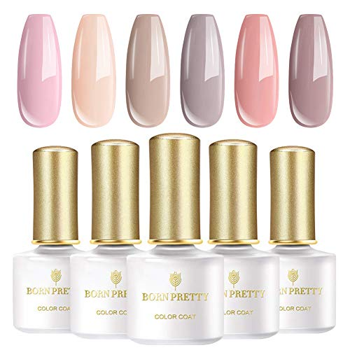 BORN PRETTY UV-Gel-Nagellack-Set, 6 Flaschen 6ml, Nude-Serie Solid Color, tränken weg Nail Art Gel Politur -