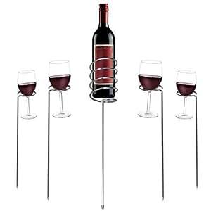 ext rieur pique nique jardin camping verre de vin porte bouteille ensemble acier inoxydable. Black Bedroom Furniture Sets. Home Design Ideas
