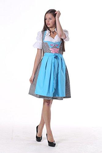 Oscartrachten, 3tlg. Dirndl-Set - Trachtenkleid, Bluse, Schürze - Dirndl midi blau, schwarz-rosa blau, schwarz und rosa