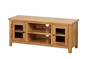 DURHAM Fully Assembled TV Unit, Wood, Oak, Large
