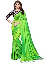 GoSriKi Silk Saree with Blouse Piece (SANA GREEN_Green_Free Size)