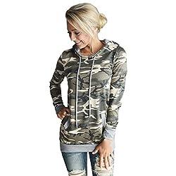 Tonsee Womens Camouflage Printing Pocket Hoodie Sweatshirt Hooded Pullover Tops Blouse