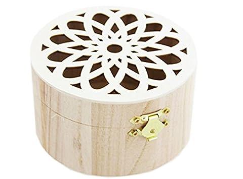 Boîte ronde en bois Floral Fret travail Couvercle mignon cadeau spécial peinture Décorer à bijoux au trésor britannique par Accessoires grenier