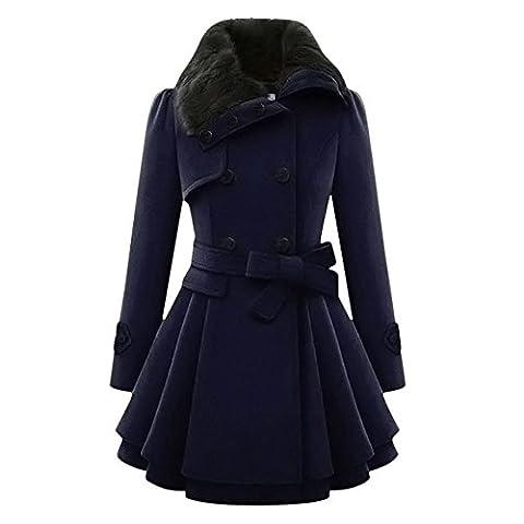 Reaso Femmes Hiver Blouson Manteaux Rétro Gilet Classique Jacket Bouton Chaud Parka Vintage Manteau Veste Épais Elegant Pardessus Longue Outwear Trench Coat Manches Longue Outfits (XL, Bleu foncé)