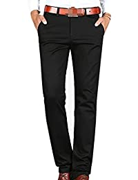 Hombres Delgadas Aptos Rectos Elásticas Confortables De Colores Sólidos Los Hombres Casual Pantalones