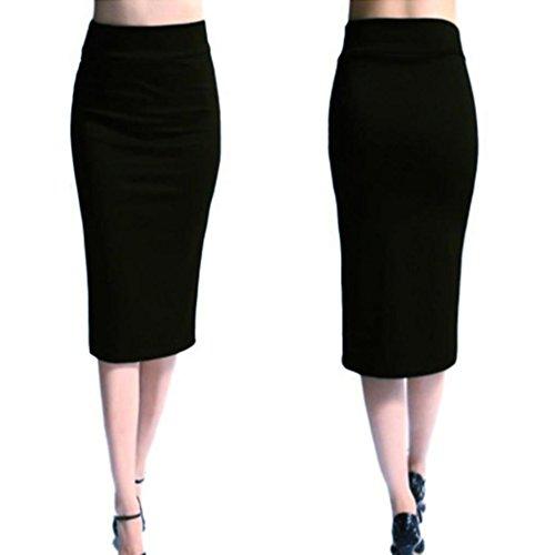 OHQ Jupe éLastique Crayon pour Femme Noir Violet Rouge Femmes Solide Taille Haute Jupes Longues Evasees Soldes Plisse Courtes Imprimee Skinny Extensible Mince (Noir, S)