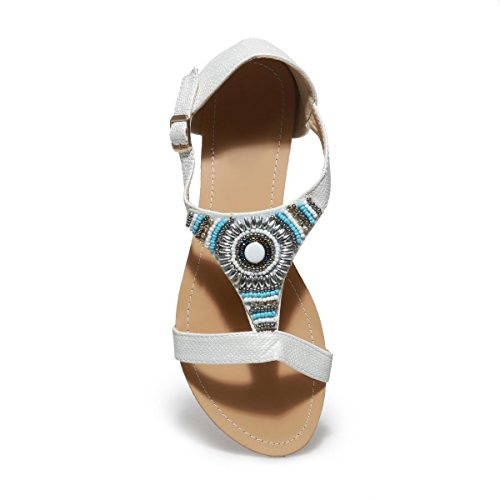 La Modeuse Sandales Grande Taille Plates Blanc