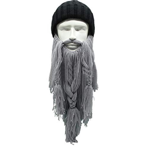 Und Bart Set Mittlere Länge Mit Freien Perücke Kappe Savage Männer Cosplay Wellenförmige Volle Perücke Kappen Hut (Farbe : Light Gray Beard)