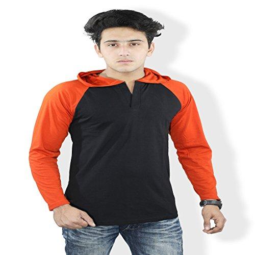 Harvi.com Harvi Full Sleeve Mens Hooded Tshirt Orange and Black Color Regnal