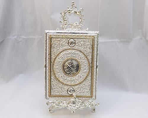 Koran Box L in Silberton mit Kristall Diamanten + Aufsteller, tolles Geschenk zur Hochzeit, Dekoration (Koran-Buch Nicht im Lieferumfang enthalten)