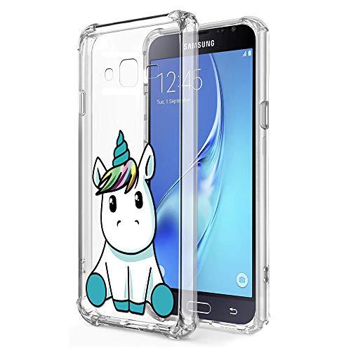 Zhuofan Plus Cover Samsung Galaxy J3 2016, Custodia Clear Silicone Soft Transparent TPU Gel con Design Airbag Print Pattern AntiGraffio Antiurto Protactive Cover per Samsung Galaxy J3 2016, Unicorno