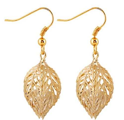 SaySure - Zircon Gold And Silver Leaf Drop Earring Hollow Crystal